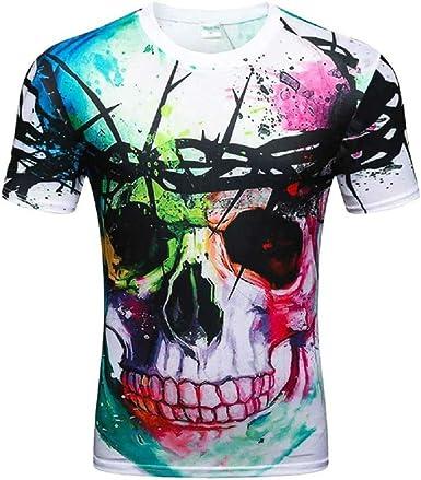 Hombres y Mujeres Imprimir Skulls Hip Hop Camiseta Hombre Camisa Tops tee: Amazon.es: Ropa y accesorios