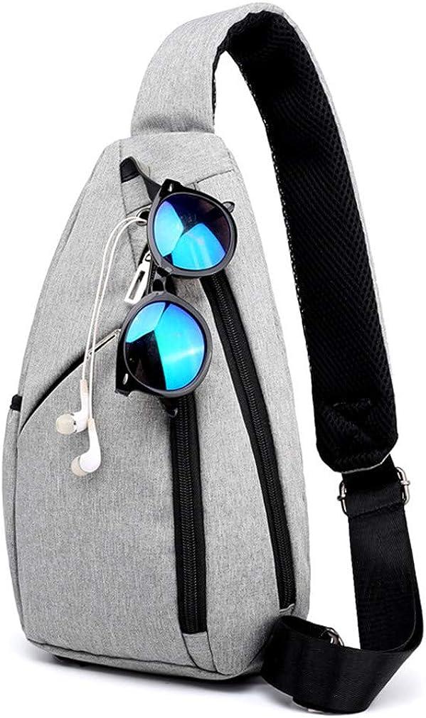 Male Pockets Chest Bags Men Casual Messenger Sling Bag Anti Theft Cross Body Bag Waterproof Shoulder Bags Light Grey