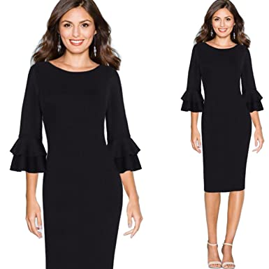 4ae3bcd7dd9 NJSBPG Women Autumn Elegant Flare Business Cocktail Party Bodycon Pencil  Dress at Amazon Women s Clothing store