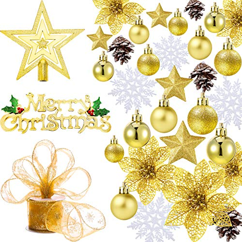 Boao 72 Pieces Christmas Baubles Ornaments, Christmas Tree Decorations Themed, Including Snowflakes, Pine Cones, Christmas Balls, Star, Ribbon, Christmas Tree Flower (Gold)