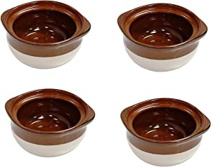 Porcelain Ceramic Onion Soup Crock Bowl With Lid for Dinner Meals. Healthy Portion Size,Brown and Beige,Small 12 Ounce. (Set of 4)
