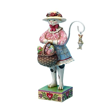Jim Shore for Enesco 7-Inch Easter Cat Wearing an Easter Bonnet Holding a Basket of Easter Eggs Figurine