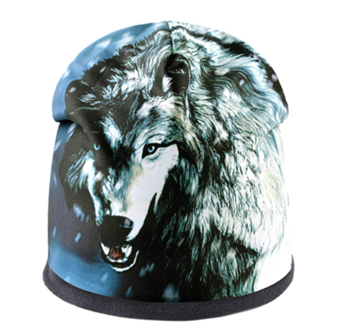 Fashion Men'S Wolf Pattern Ladies Street Punk Bone Thick Ski Cap by GLDHFES