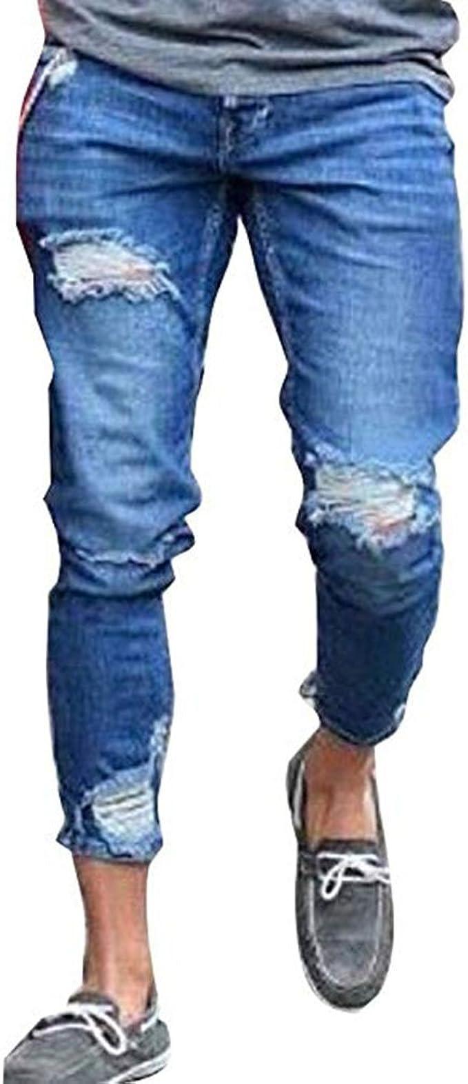 Hombre Huateng Pantalones Vaqueros Rasgados Para Hombre Pantalones Vaqueros Pitillo Para Hombres Ropa Aceautocare Net