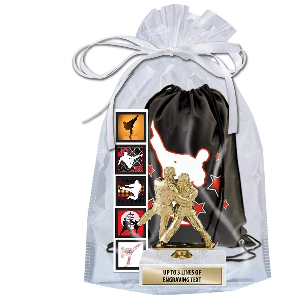Crown Awards Karate Goodie Bags, Karate Favors for Karate Themed Party Supplies Comes with Personalized Boys Judo Karate Trophy, Set of Karate Stickers and Karate Drawstring 50 Pack Prime by Crown Awards (Image #2)