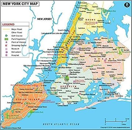 New York City Map – laminiert (91,4 cm W x 90,3 cm H ...