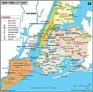 Cartina America New York.Amazon Com New York City Map Laminated 36 W X 35 57 H Office Products