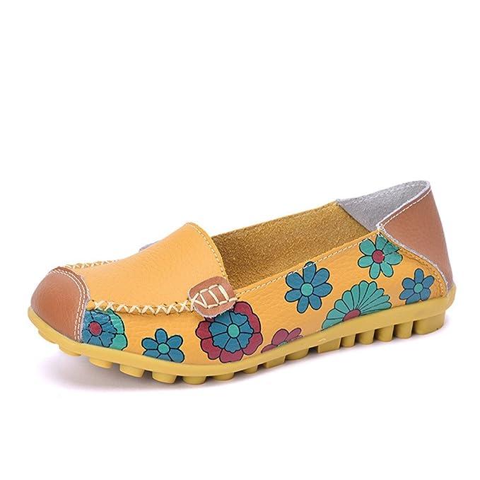 Nuevos Zapatos de mujer Mocasines de cuero real Señoras de conducción femenina Ballet Casual Mocasines de la madre Zapato suave Ocio Pisos Calzado: ...