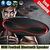 Aberobay NEW Bluetooth Speaker Wireless Portable Rugby Music Sound Box Subwoofer Loudspeakers TF/AUX/USB/FM with Built-in Microphone-Black+red