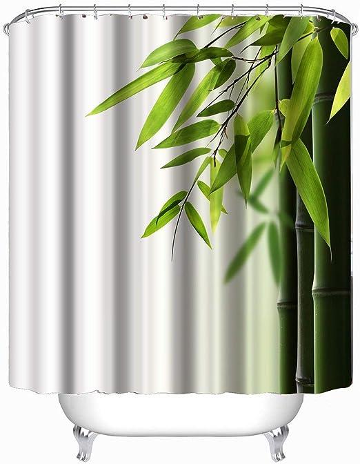 72*72 in Bamboo 3D Printing Decor Bathroom Shower Curtain 12 Shower hooks