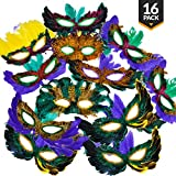 Masquerade Fantasy Feather Masks {Bulk 16 Pack} for Mardi Gras and Parties, Assorted Styles and Colors, A Fun Costume Accessory