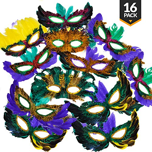 Masquerade Fantasy Feather Masks {Bulk 16 Pack} for Mardi Gras and Parties, Assorted Styles and Colors, A Fun Costume Accessory ()