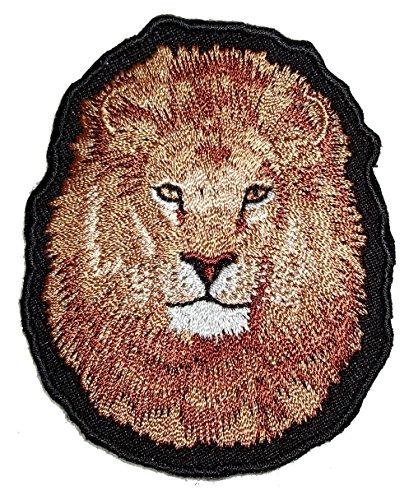 Leather Supreme Brown Lion Head Embroidered Biker Patch-Brown-Medium