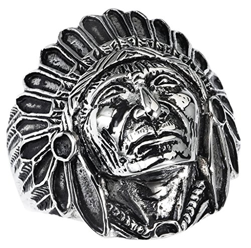 Stainless Steel Indian Chief Design Ring (Available in Sizes 9 to 14) size (Indian Ring Designs)