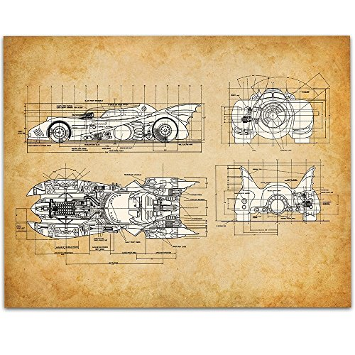 1989 Batmobile Art Print - 11x14 Unframed Patent Print - Great Man Cave Decor or Gift for Comics and Batman (The Real Catwoman Costume)
