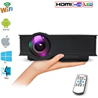"WiFi Projector Portable Multiscreen Home Movie Theater LED Projector 1200 Lumens Support HD 1080P Video-Max 130"" Screen HDMI/SD/USB/VGA/Double Audio Out Interfaces Multimedia Player"