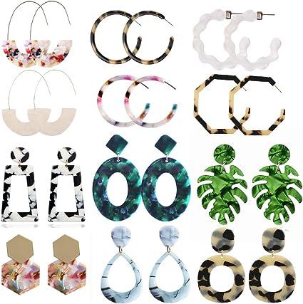Fashion Statement Mottled Acrylic Drop Dangle Earring Resin Hoop Earrings for Women Girls