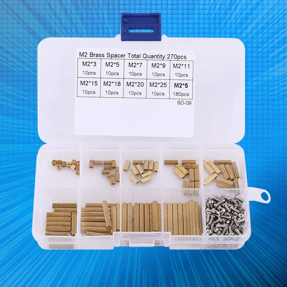 270pcs M2 /Écrou Vis Entretoise Filet/é M/âle Femelle en Laiton Kit Assortiment PCB avec Bo/îte en Plastique