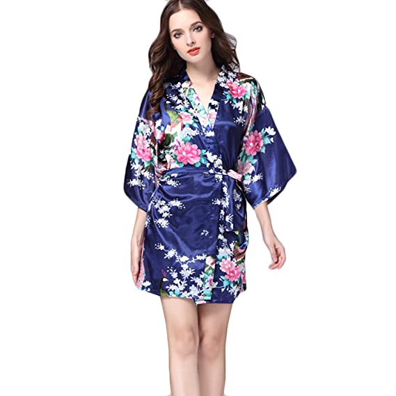 AOWEI EC Mujer Kimono Satén Albornoz Corto Pijama de Seda Camison Camisones de Verano Vestido Floral
