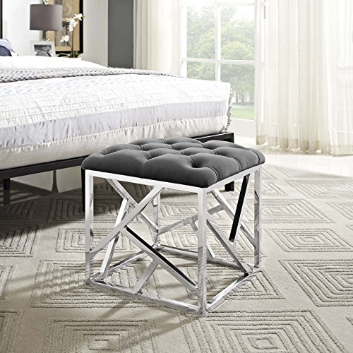 Modway Intersperse Tufted Modern Ottoman With Silver Stainless Steel Geometric Frame In Silver Gray