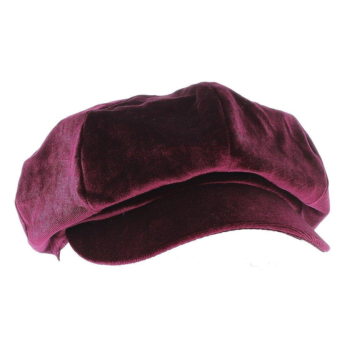 Whiteley Ladies Velvet Feel Bakerboy//Newsboy//Gatsby 8-Piece Button Top Cap from
