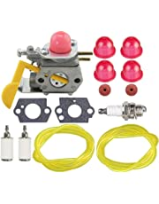 Hippotech C1U-W18 C1U-W24 530071822 Carburetor with Fuel Line Fuel Filter for Craftsman Poulan Weedeater MX550 MX557 P1500 P2500 P3500 TE475 TE475Y XT260 XT700 String Trimmer Brushcutter