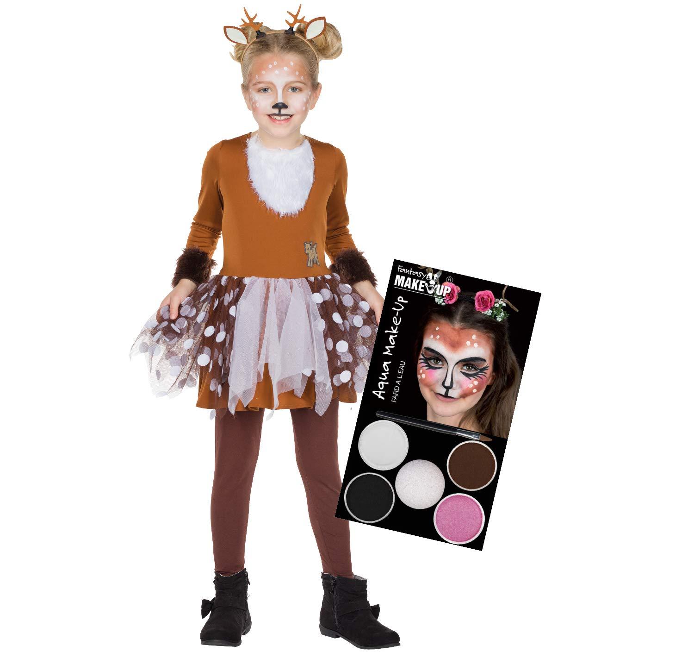 Unbekannt Kinder Kostum Rehkitz Bambi Mit Schminke Kleid Braun