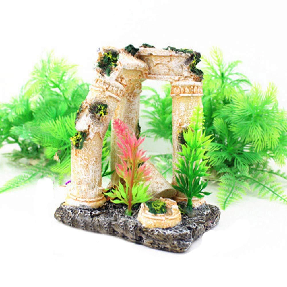 Piebo Acuario Tanque Peces Escondido Ornamento de la Cueva Ruinas del Templo Romano Acuario Decoración: Amazon.es: Jardín