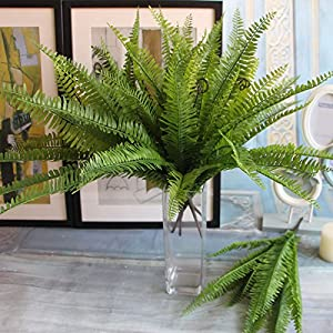 Artificial Boston fern with 15 fronds, artificial green plant / Silk plant 108