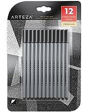 ARTEZA Fineliner Pack de 12 Stylos Feutres Haute Qualité Pointe Fine, Durables Pour Écriture, Croquis et Dessin, Encre Couleur Noir Inodore à Base D'eau, Sans Acide, Anti-Bavures (Pointes de 0.4 mm)