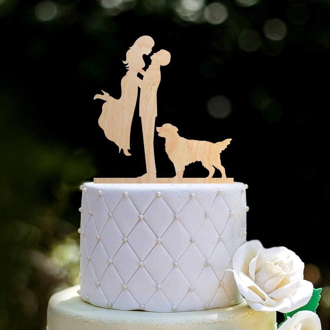 Figurine de mari/és et de mari/és avec chien D/écoration de g/âteau de mariage avec labrador Mr et Mrs avec Golden Retrieverlabrador 040