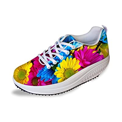HUGS IDEA Korean Style Women's Wedges Sneakers Colorfual Floral Swing Fitness Shoes US10 | Walking