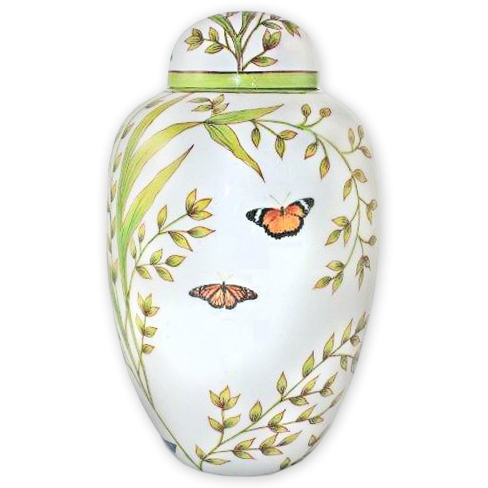 Garden Butterfly Cremation Urn by Beautiful Life Urns - Hand-Painted Funeral Urn Adorned with Butterflies (Adult, Large) by Beautiful Life Urns