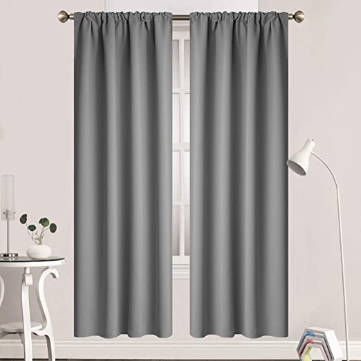 Amazon Com Yakamok Room Darkening Gray Blackout Curtains Thermal Insulated Rod Pocket Curtain Panels For Bedroom 38w X 72l Grey 2 Panels Home Kitchen