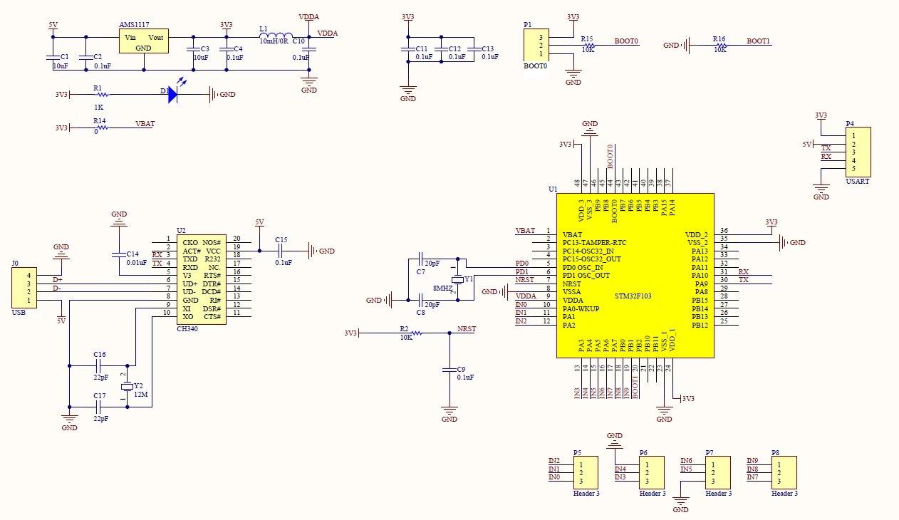 USB 10-Channel 12Bit AD Data Collection Module STM32 UART ADC Module