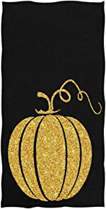 """Naanle Magic Gold Pumpkin Print Thanksgiving Halloween Decor Soft Large Eco-Friendly Guest Hand Towels Multipurpose for Bathroom, Hotel, Gym and Spa (16"""" x 30"""",Black)"""