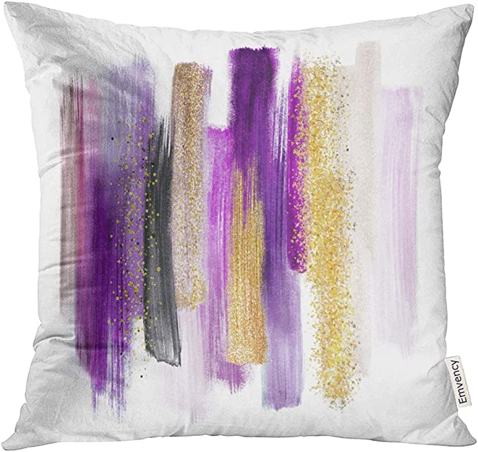 Vanmi Throw Pillow Cover Pink Abstract Watercolor Brush Strokes White Paint Smears Purple Gold Palette Modern Wall Yellow Decorative Pillow Case Home Decor Square 16x16 Inches Pillowcase Home Kitchen Amazon Com