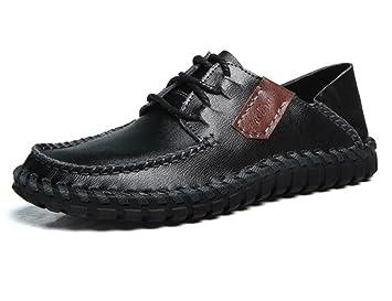Hombres Oxford Casual Mocasines Cuero Con cordones Hecho a mano Respirable Moda Ponerse Pisos Negro marrón