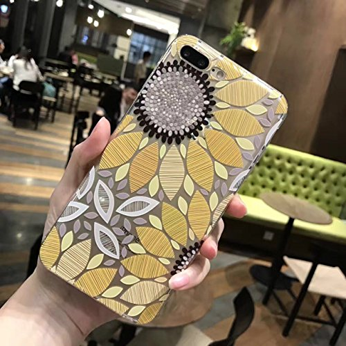 PHEZEN iPhone 8 Plus Case,iPhone 7 Plus Clear Case, Beautiful Flower Pattern Clear Bumper Case Soft TPU Rubber Silicone Skin Transparent Case Cover for iPhone 7 Plus/8 Plus (Yellow Sunflower) (Yellow Silicon Skin Case)