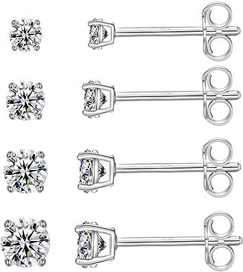 Silver Earrings for Women S925 Sterling Silver Earrings Women Cubic Zirconia Stud Earrings Set 2,3,4,5mm Silver Stud Earrings Small Sleeper Cartilage Studs Gifts for Friends