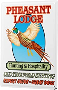 LEotiE SINCE 2004 Tin Sign Metal Plate Decorative Sign Home Decor Plaques Kitchen Decor Pheasant Hunting Shooting Expert Guide Dogs 8X12