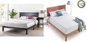 Zinus Santiago Wood Cottage Style Platform Bed with Headboard/No Box Spring Needed/Wood Slat Support, Queen & 12 Inch Gel-Infused Green Tea Memory Foam Mattress, Queen