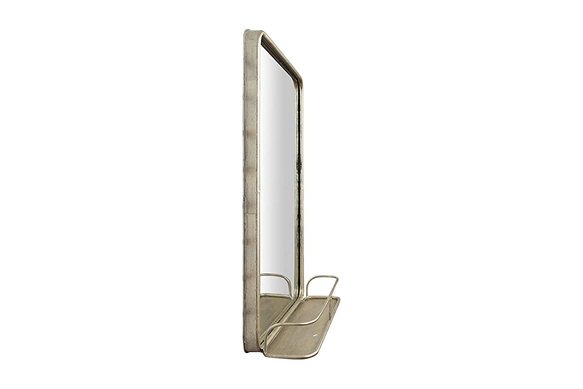 Creative Co-op DA7762 Wall Mirror with Shelf and Antique Nickel Finish