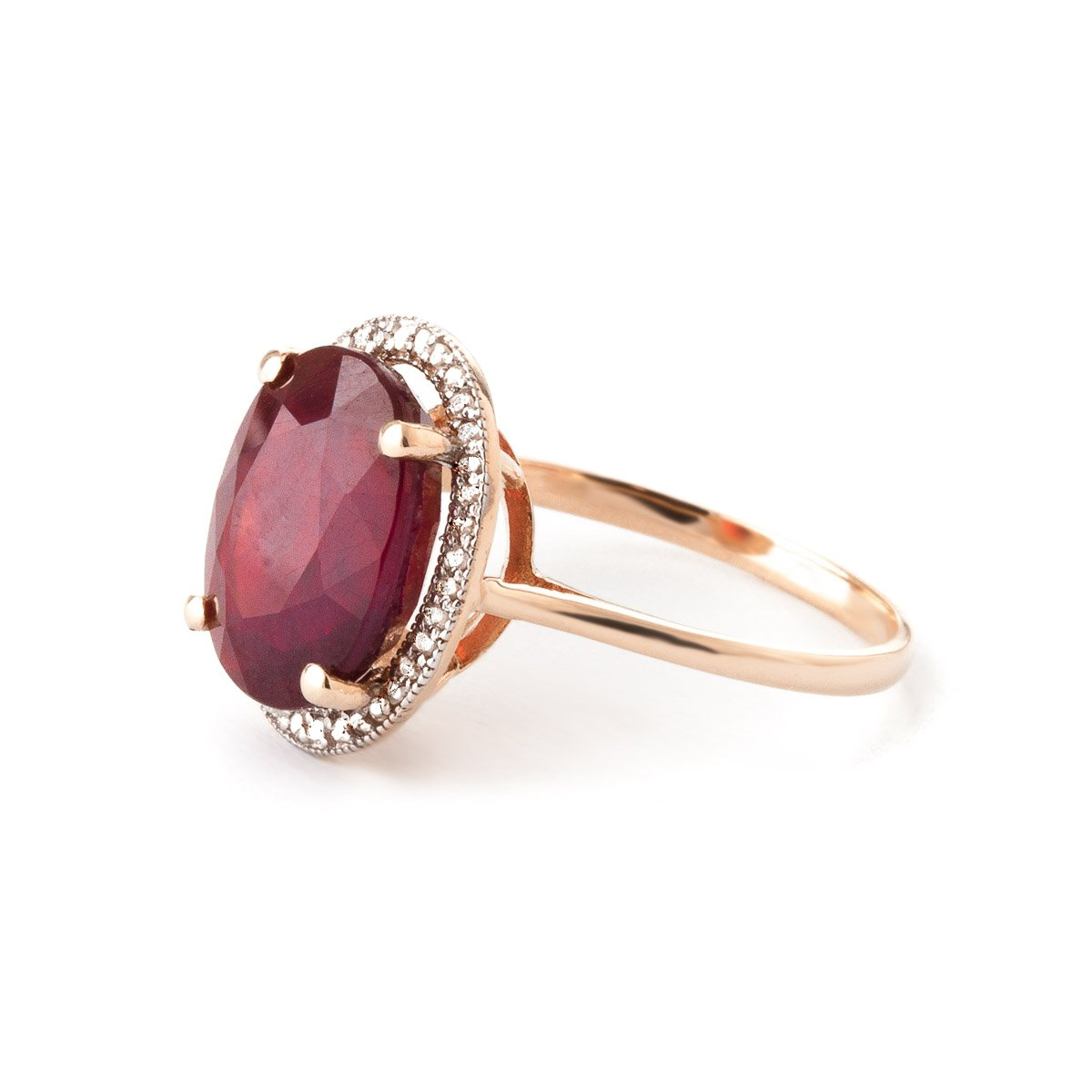 Galaxy Gold7.93 Carat 14k Solid Rose Gold Ring with Natural Oval-Shaped Ruby and Genuine Diamonds - Size 5.5 by Galaxy Gold (Image #2)