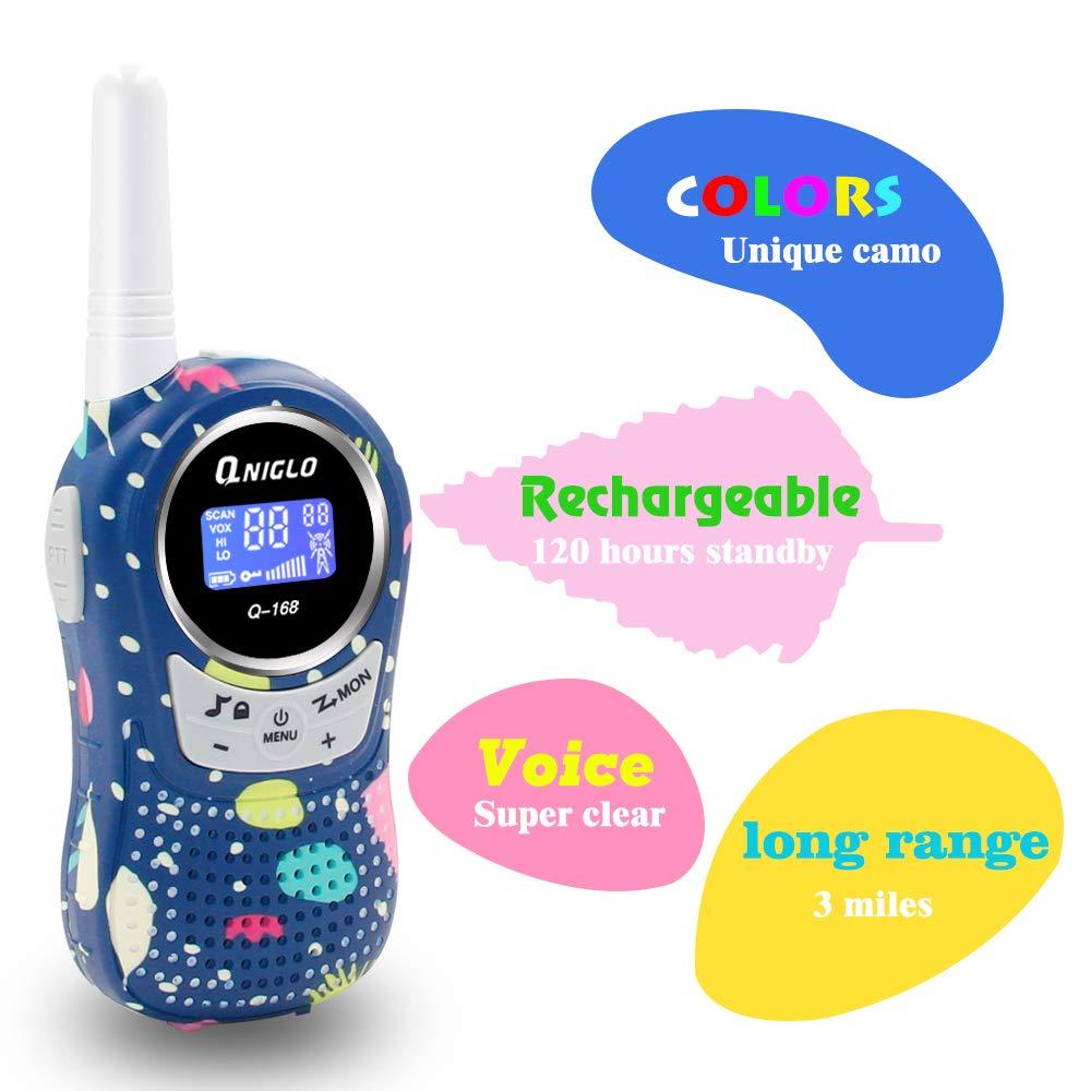 Qniglo Walkie Talkies Kids Adults 22 Channel Long Range 2 Way Radio Rechargeable Walkie Talkies(Blue,2 PCS) by Qniglo (Image #3)
