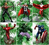 Marvel Super Hero Avengers 6 Piece Christmas Tree Ornament Set Featuring Thor, Hawkeye, Falcon, Captain America, Iron Man and Hulk