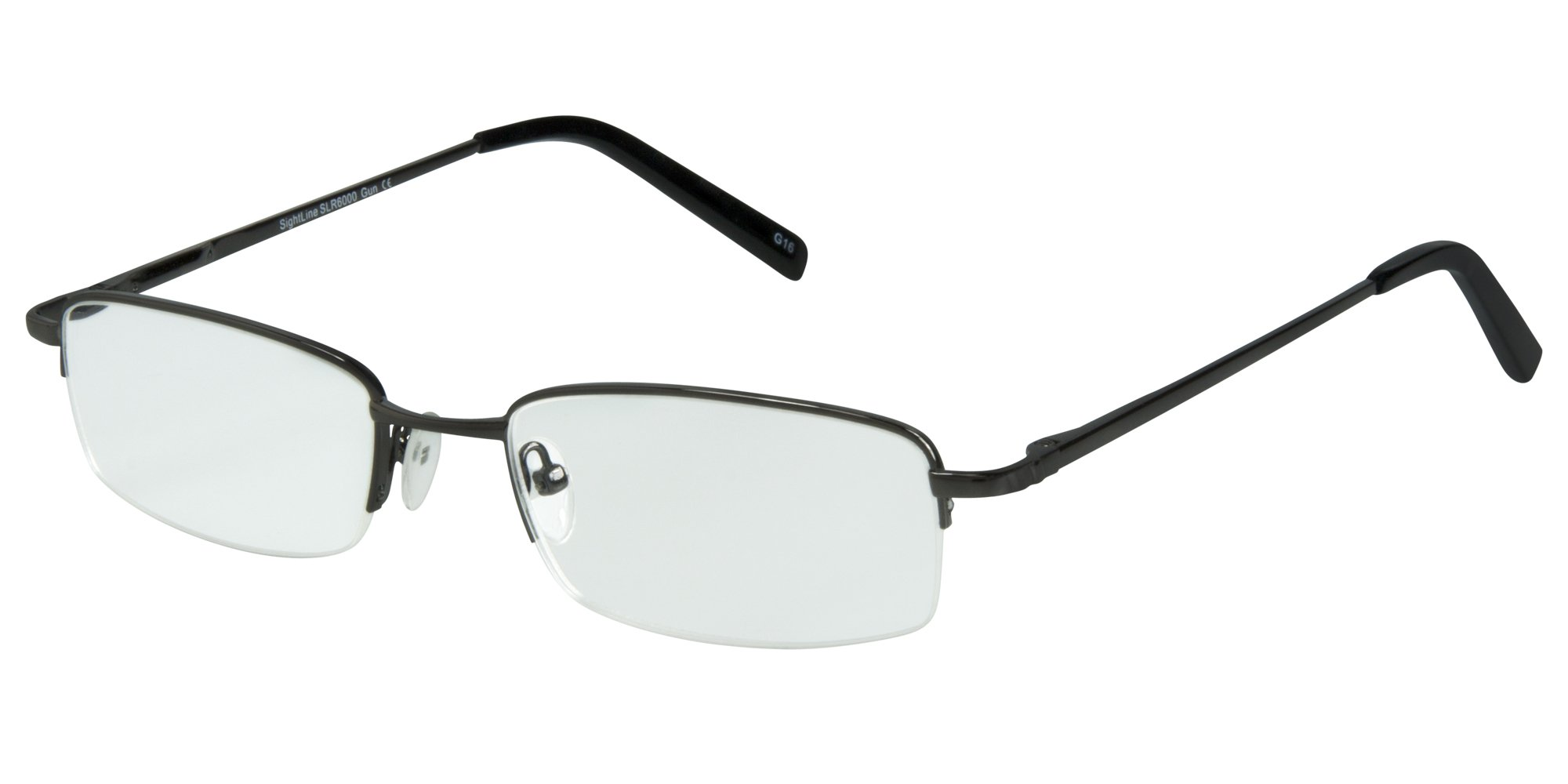 SightLine Multifocal Computer Reading Glasses 6000 Semi-Rimless Designer Frames (1.50, Gunmetal)