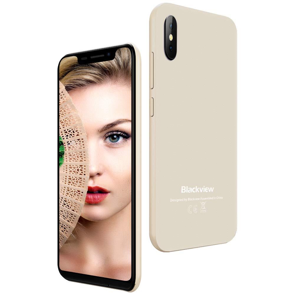 """【2019】 Blackview A30 14,0 cm (5.5"""" 19:9) 2GB RAM 16GB Smartphone Dual Sim 3G 2500mAh Moviles Libres (Android 8.1 Oreo, Cámara Dual de 8/5MP, Reconocimiento Facial, WiFi, Bluetooth, GPS, Dorado)-EU"""