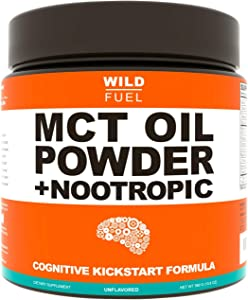 MCT Oil Powder Plus Nootropic Boosters - Wild Fuel Keto Coffee Creamer, Ketogenic Diet Support - Easy Blend, Rapidly Absorbed Body, Weight and Brain Function Support - 13.8oz - 30 Serving - Unflavored