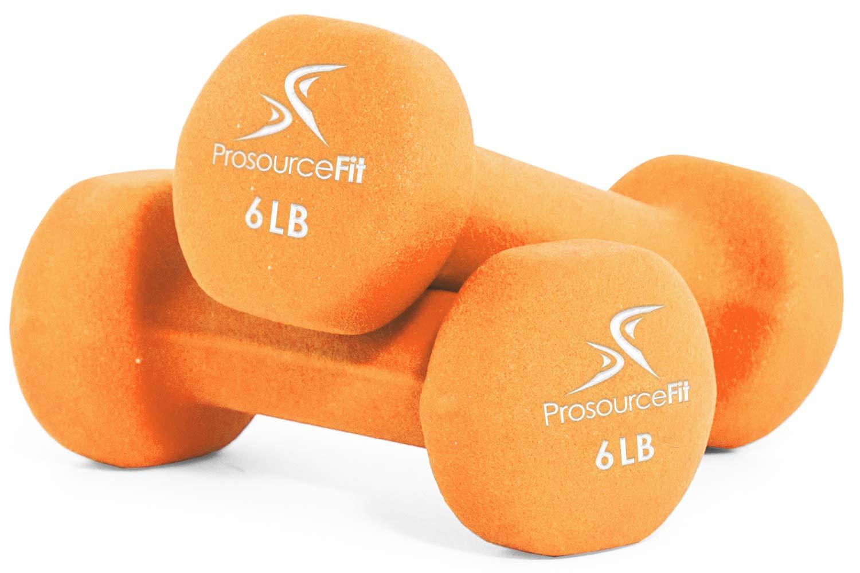 ProsourceFit Set of 2 Neoprene Dumbbell Coated for Non-Slip Grip, Orange-6lb